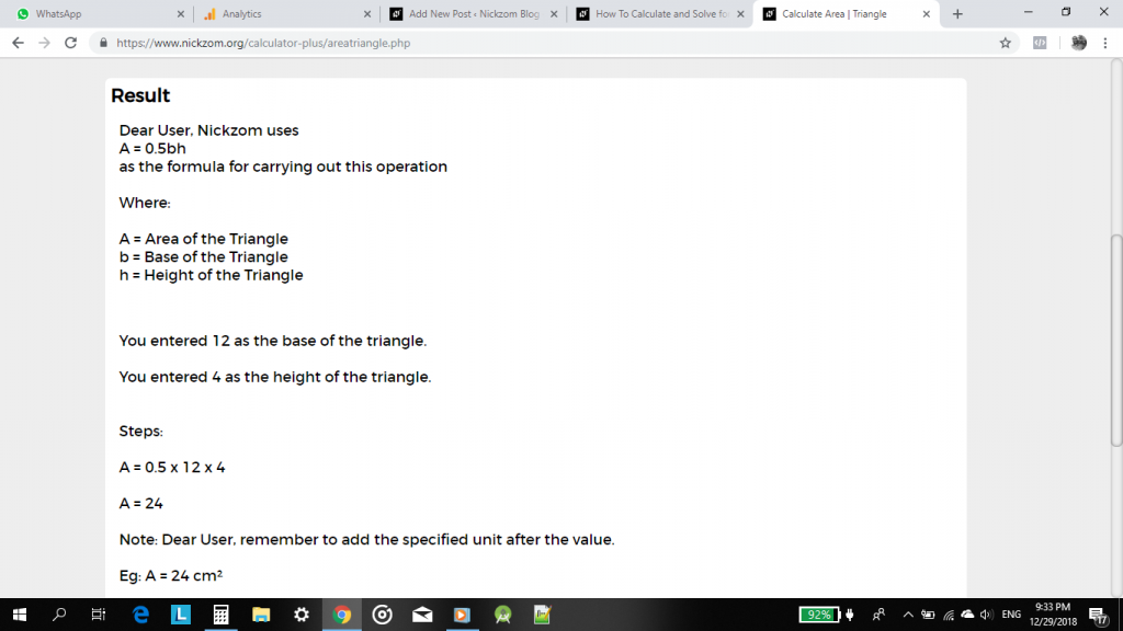 How to Calculate and Solve for the Area, Base and Height of